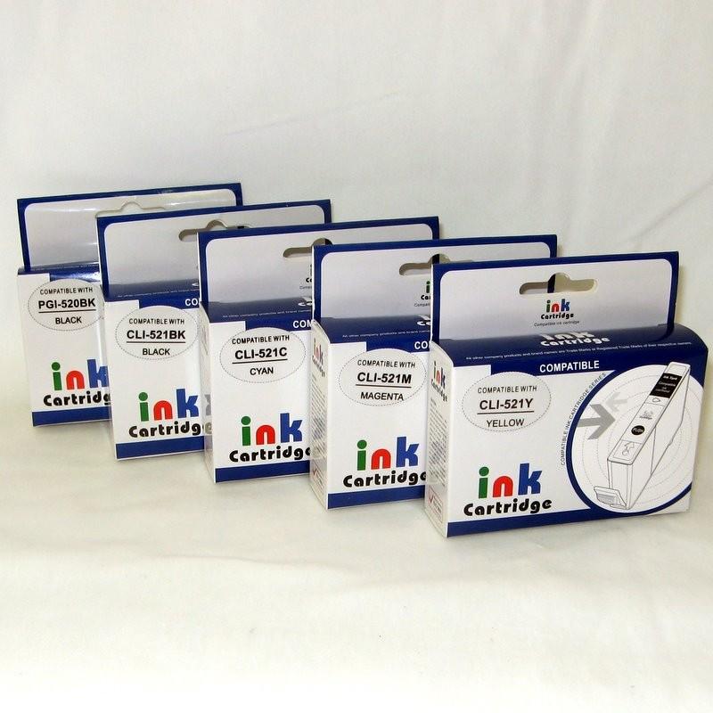 Plnitelné náplně PGI-520BK, CLI-521BK, CLI-521C, CLI-521M, CLI-521Y včetně inkoustu