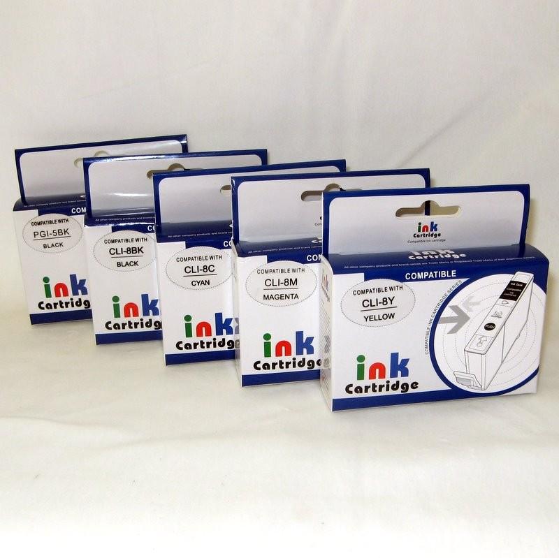 Plnitelné náplně PGI-5BK, CLI-8BK, CLI-8C, CLI-8M, CLI-8Y včetně inkoustu